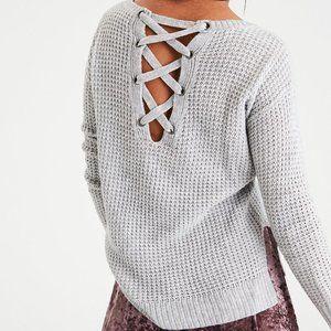 🍁BOGO 50%🍁 AE Lace-Up Back Waffle Knit Sweater